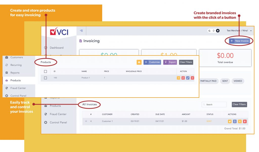 VCI payments easily track ach invoices and create custom branded invoices